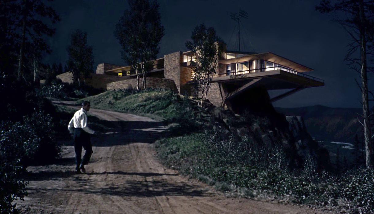 Cette maison spectaculaire accrochée à la falaise avec un énorme porte à faux au dessus du vide simplement soutenu par des contre forts